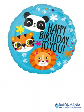 Lev. Panda. Tiger - Happy birthday balon